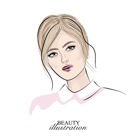 Blonde girl face with nude makeup vector illustration. Model hand drawn portrait. Skin care art. Beauty face glamour print. Skin care style Illustration