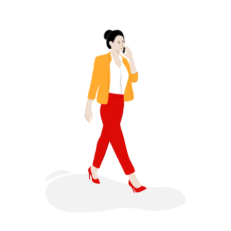 Business woman walking on the street with phone. Modern flat lay illustration. City lifestyle vector illustration 일러스트