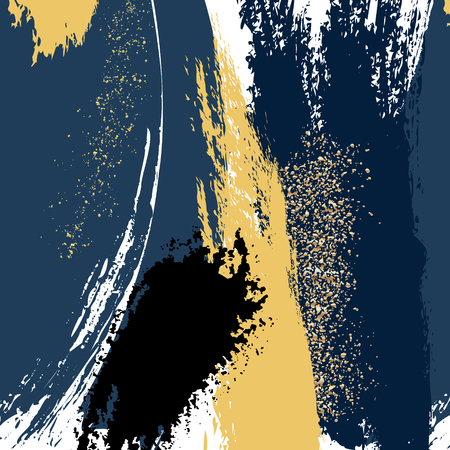 Watercolor brush strokes with navy gold grunge shapes. Glitter splatters tender card template. Luxury shiny sequin design for cover, banner, invitation, card Branding and identity Vector illustration 矢量图像