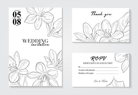 Vector Orcid botanical flower template. Wild spring leaf isolated on white background. Wedding invitation cards. Illustration