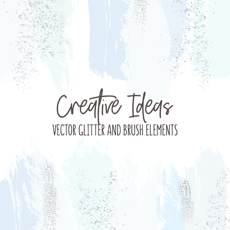 Creative brush strokes glitter elements in blue color. Silver simple surface design.  Modern design background for wedding, invitation, web, banner, card, pattern, wallpaper vector illustration. Illustration