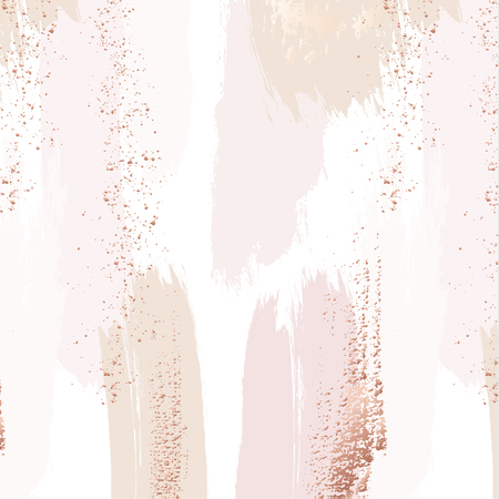 Vector repetition pattern in tender beige, pink colors with rose gold glitters. Vector grunge abstract background. Wedding decoration design.