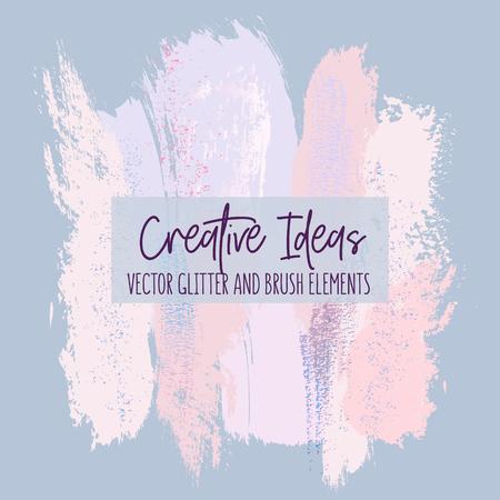 Creative brush strokes glitter elements, blue pink color. Rose shining sparkle simple surface design.  Modern design background for wedding, invitation, web, banner, card, pattern, wallpaper. Vector