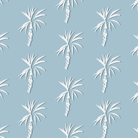 Tropical palm leaf on blue background. Vector floral illustration with palm silhouettes. Summer nature print. Exotic plant.