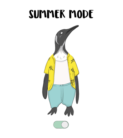 Cute pinguin in shorts, t-shirt ready for summer. Cute penguin nursery summer character, animal greeting card design, kids room funny poster, tee, t-shirt print