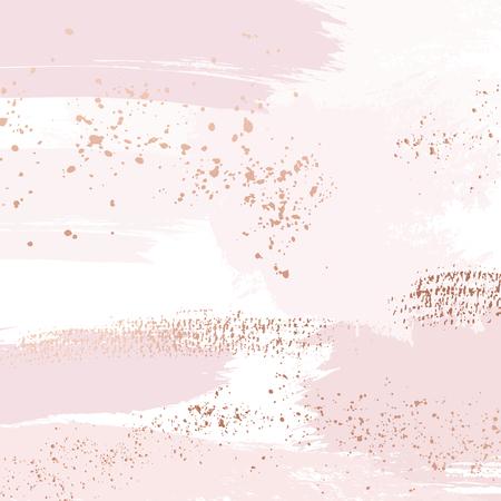 Vettore Pennellate di rosa nuda con motivo a scintillii dorati, decorazione di contorno di lusso. Sfondo di arte delicata rosa pastello