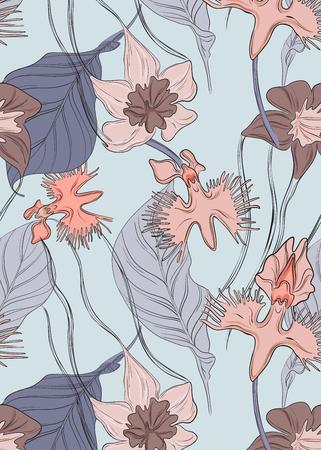Reticolo floreale dell'orchidea di vettore. Ripetizione stampa botanica di fiori teneri con foglie. Decorazione esotica naturale. Sfondo di pubblicità di bellezza. Elementi di arredo per matrimoni Vettoriali