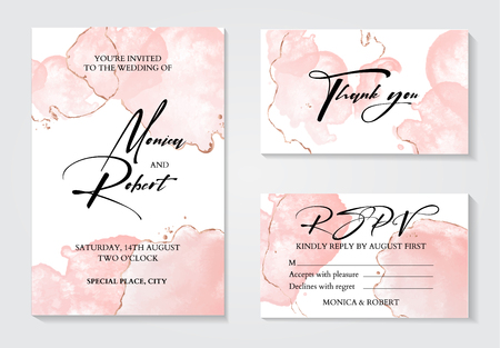 Romantic tender rose gold brush stroke watercolor background with glitter foil. Luxury invitation design for wedding invitation, save the date and thank you cards. With place for text Illustration