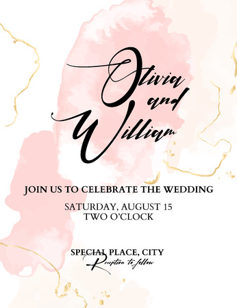 Trendy wedding watercolor blushes. Vector Chic Background with splashes and golden texture, calligraphic text. Hand-drawn tender elemetns. Grunge glitter template. Illustration