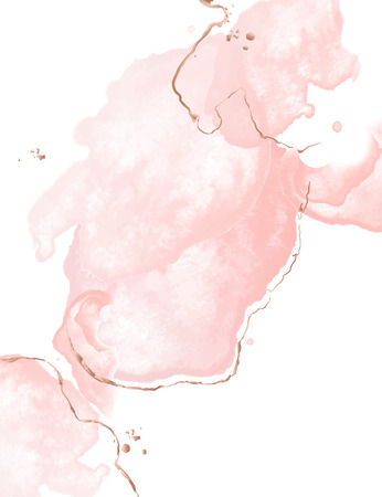 Dynamic fluid pink art with watercolor splashes wnd golden glitter strokes. Glamour wedding decoration. Tender rose gold presentation background.