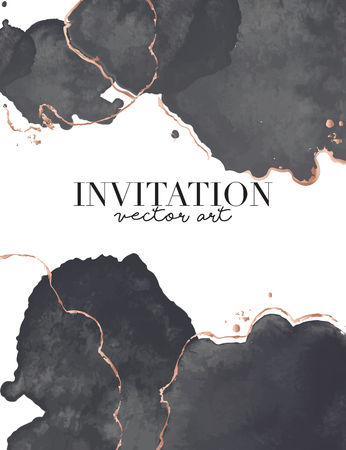 Black gold luxury design. Watercolor splash Vector vertical wedding invitation card with golden waves shapes. Trendy design for wedding ceremony. Can be used for cosmetics, spa, beauty salon.