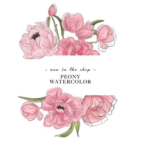 Tender peony  drawing banner. Flower composition with peony and leaves, advertising banner. Botanical sketch decoration with typography text. Illustration