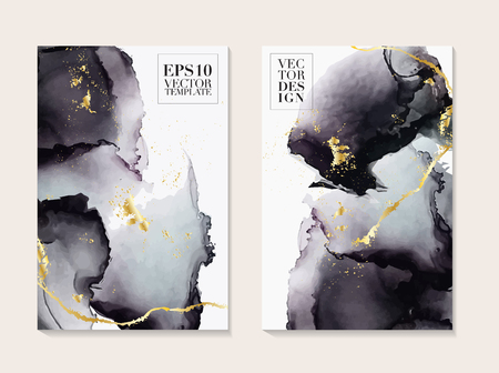 Liquid flow dark grey and gold vector design. Trendy Marble background, Alcohol ink  texture design in shades of black and golden texture vector temple