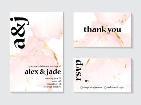 Concepto de invitaciones de boda en oro rosa y diseño de plantilla de tarjeta con lienzo pintado de color rosa y dorado en un lujoso estilo suave y tierno