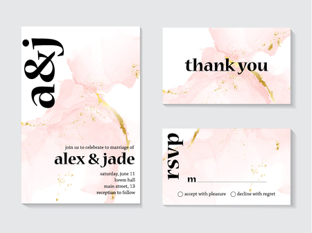 Wedding rose gold invitations concept and Card Template Design with Painted canvas pink and gold foil in luxurious tender soft style