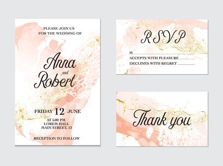 Trendy greeting card set with watercolor liquid flow. Tender ink art with gold glitter splashes. Beauty salon card, wedding invitation, vector Vector Illustration