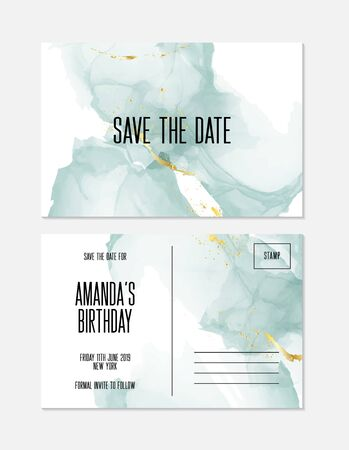 Trendy modern liquid marble texture birthday card template. Fluid art. Applicable for design cover, presentation, invitation, flyer, annual report, poster and business card, desing packaging. Vector. Stock Illustratie