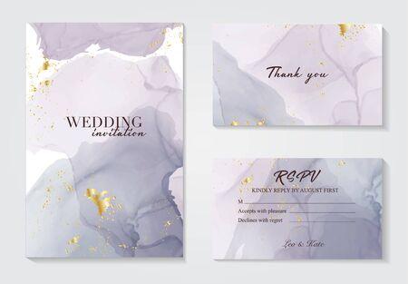 Modern wedding invitation alcohol ink design. Vector set on watercolor ink splash ink violet grey colors. Purple acrylic marble liquid design .