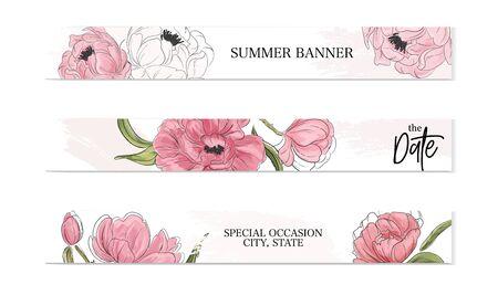Peony advertising creative botanical banner. Modern summer floral decoration. Floral romantic presentation decor. Web design banner .