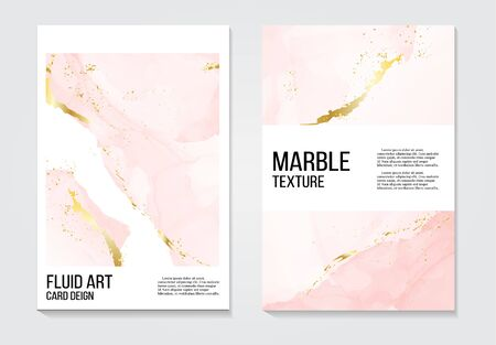 Poster rose gold invitations concept and Card Template Design with Painted canvas pink and gold foil in luxurious tender soft style Vector Illustration.
