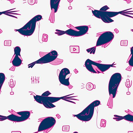 Modern technology birds with mp3, microphone, player and music elements. Hand-drawn birds doodles.
