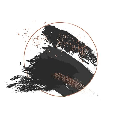 Black  brush stroke luxury design with golden glitter strokes and circle frame. Dark decoration round cosmetic, make-up, vintage decoration banner.