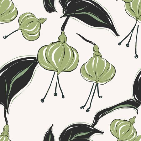 Botanical pattern with tender green pastel flowers and leaves. Summer bouquet collection. Ditsy  simple floral texture.  Green black drawing sketch art Illustration