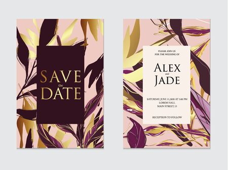 Gold, rose gold, dark violet and black palm tropical wedding card template, artistic covers design.