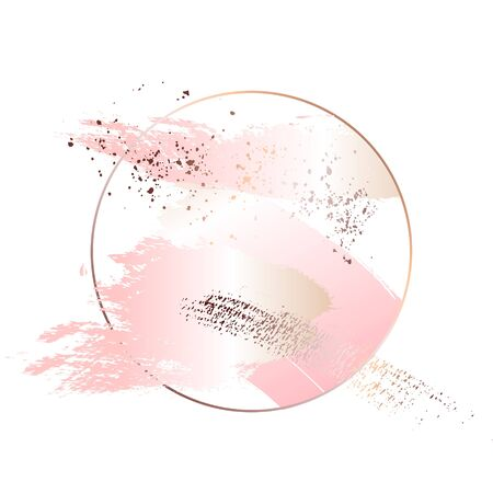 Rose gold foil art. Tender soft pink decoration circle. Fluid art. Applicable for design covers, presentation, invitation, flyers, annual reports, posters and business cards. Modern artwork Illustration