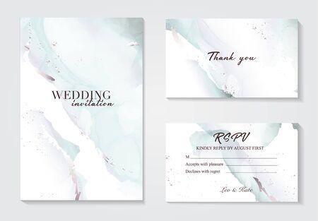 Holographic mint grey wedding marble card desing. Liguid splash abstract art.  Marble tender design background for wedding, invitation, web, banner, card, pattern, wallpaper vector illustration Illustration