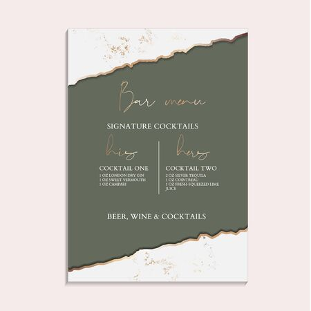 Green Wedding Invitation, greeting posters, modern card Design Collection. Trendy rustic Marble background, paper texture design in soft green and golden texture vector temple