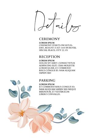 Greenery hand-drawn rose greeting invitation card template design, pink magnolia magnifica flowers with botanical wreath. Wedding vector design Фото со стока - 131947573