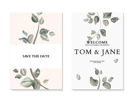 Eucaliptus Flowers and foliage leaves wedding invitation card template design in vector. Hand-drawn tender pastel dreen ceremony cards. Natural watercolor illustration Иллюстрация
