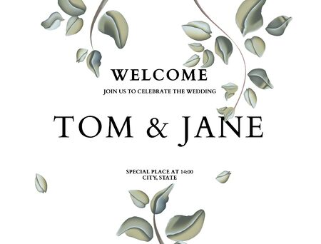 Greenery floral  greeting card, invitation card template design in pastel green colors with hand-drawn foliage plants. Soft delicate nature design for wedding, summer party, poster.