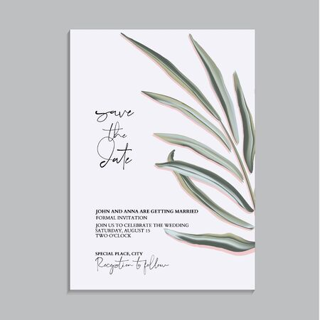 Save the date wedding card template, vintage style. Palm eaf and text exotic decoration. Foliage illustration. Illustration