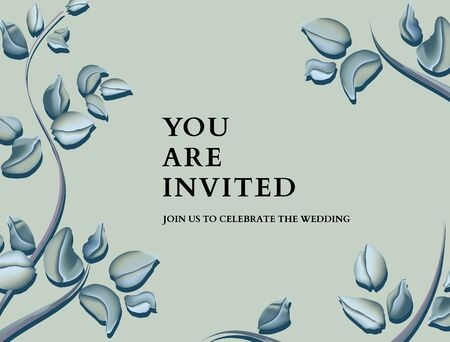 Botanical eucalyptus invitation card template design, green blue pastel  sleaves plant on tender background, minimalist vintage style. Illustration