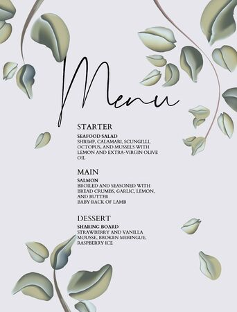 Meny wedding card template, decorated with eucaytus pastel leaves. Vector watercolor art. Botanical greetinf card, invitation, rsvp design template
