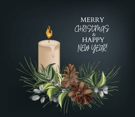 Christmas pine tree branches with fir-cones, evergreen plants and beads on dark  background, New Year invitation, greeting card.