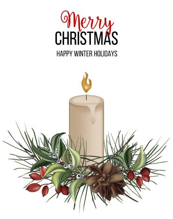 Merry Christmas and  Happy New Year greeting card with candle, pine evergreen branch, cone and berries hand-drawn illustration. Colored illustration in 3d, holiday greeting card, postcard