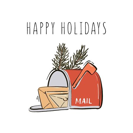Happy New Year, Merry Christmas postbox with mails and fir branches hand-drawn illustration winter holiday greeting, Santa mail postbox.