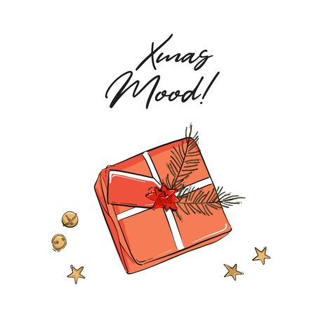 Gift box with name card and pine branch for Christmas invitation, greetings. Xmas mood sketch  illustration . Happy New Year festive  design with jingle bells ang gold stars.