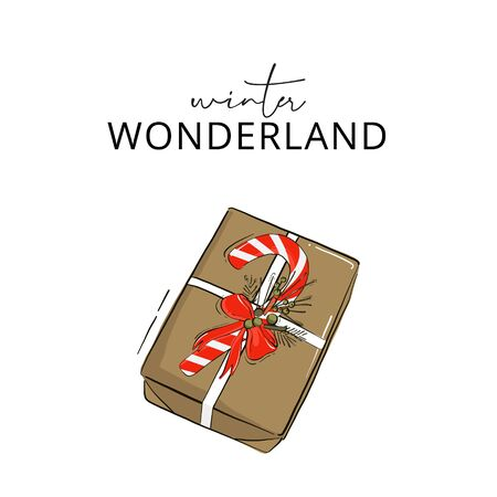 Striped Christmas Candy cane with bow on the gift box hand-drawn greeting card. Merry Christmas, Happy New Year decoration, winter wonderland design .