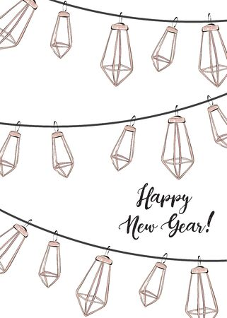Winter holidays design, Happy New Year social media decoration with trendy elegand hand-drawn garland. Geometric shape party festive  rose gold holiday design with text. Ilustrace