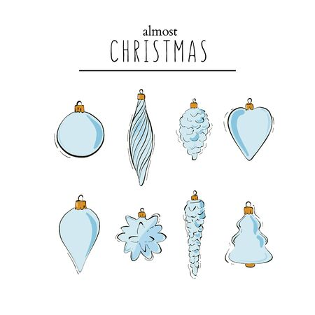 Ternder hand-drawn winter holidays tree decoration balls, cone, star, heart. Christmas card design, advertising art, New Year festive graphics.
