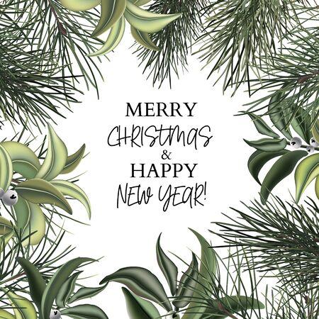Christmas traditional leaves frame. Modern New Year holiday branch , winter seasonal festive design. Fir, pine leaves elegant design.