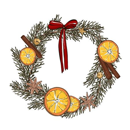 Modern door decoration wreath with dried fruits, cinnamon, star anise, red bow hand-drawn illustration. New Year Eve, Noel winter greeting card, minimal design. Ilustração Vetorial