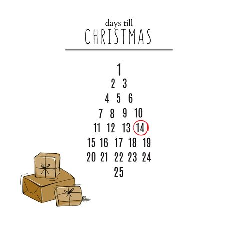 Days till Christmas countdown with hand-drawn gifts and calendar greeting invitation, advertising, social media post, blog article, website banner
