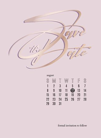 Save the date  pink  wedding glitter card with calendar.  Invitation tender soft design.