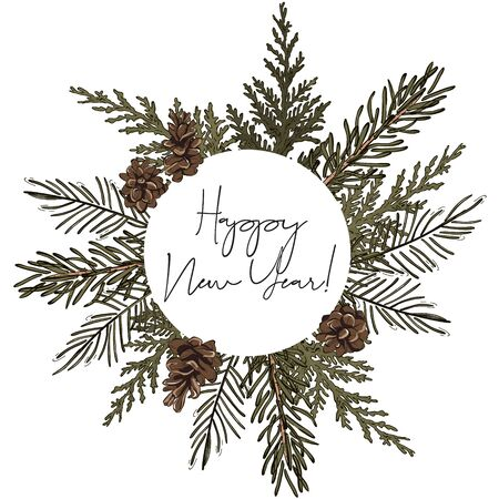 Hand-drawn fir circle wreath  frame with pine cones and typography greeting card, Happy New Year decoration. Modern winter holiday design.