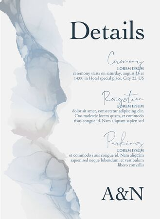 Wedding concept blue invitation cards with Luxury marble texture background and Abstract liquid style vector tender design template.